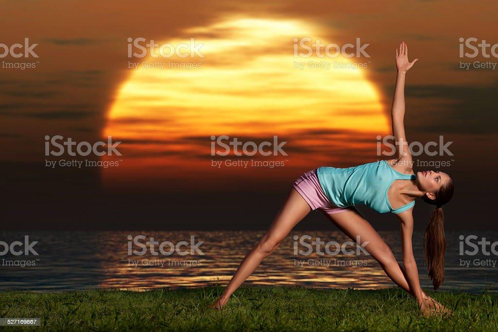 Yogi sunrise. stock photo