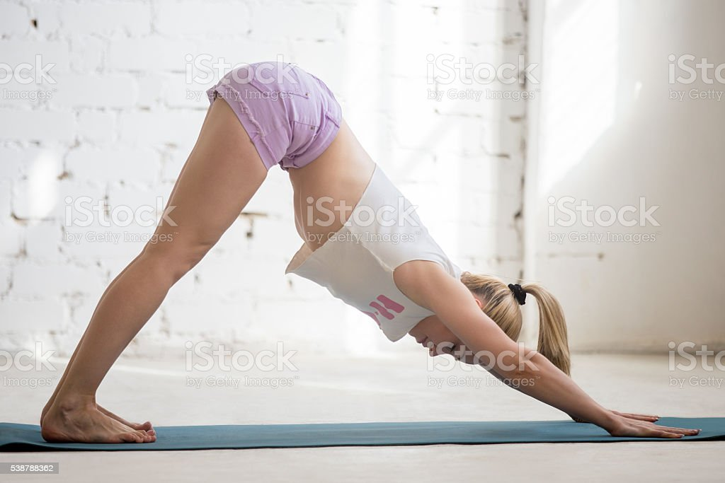 Yogi woman enjoying practice stock photo