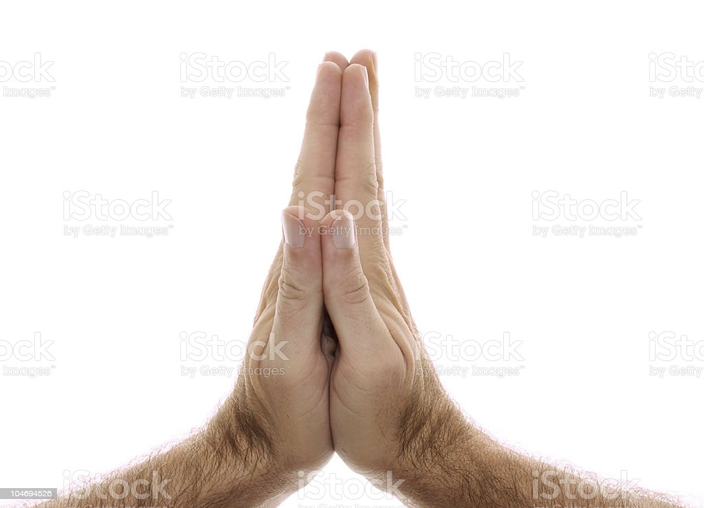yogic hand position Anjali Namaste mudra on white royalty-free stock photo