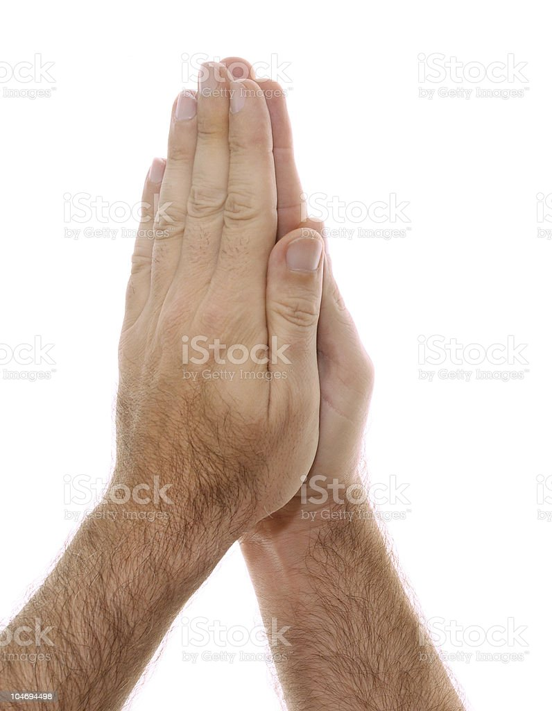 yogic hand position Namaste Anjali mudra on white royalty-free stock photo