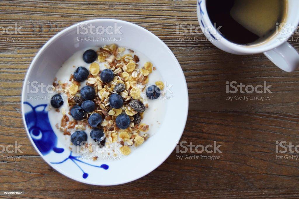 Yogurt and coffee stock photo