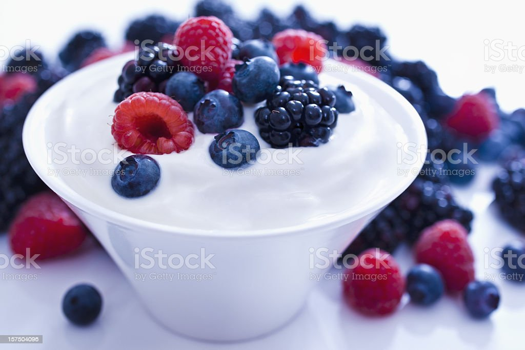 Yogurt and fruit. royalty-free stock photo