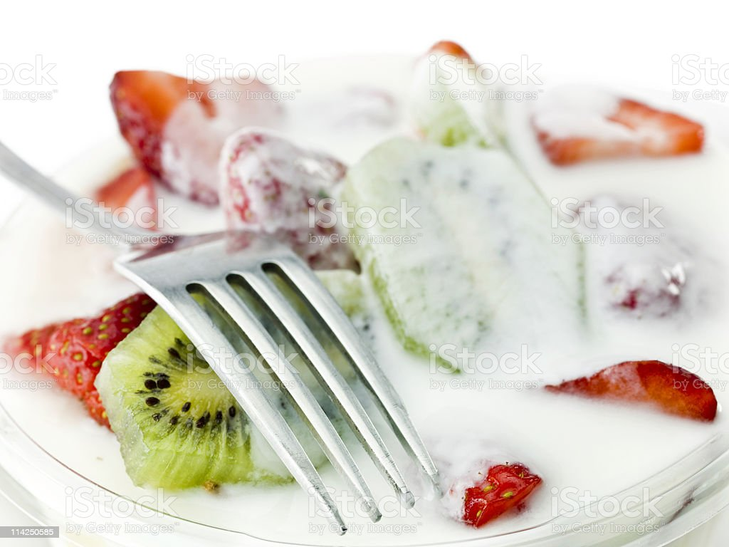 Yogurt and fruits stock photo