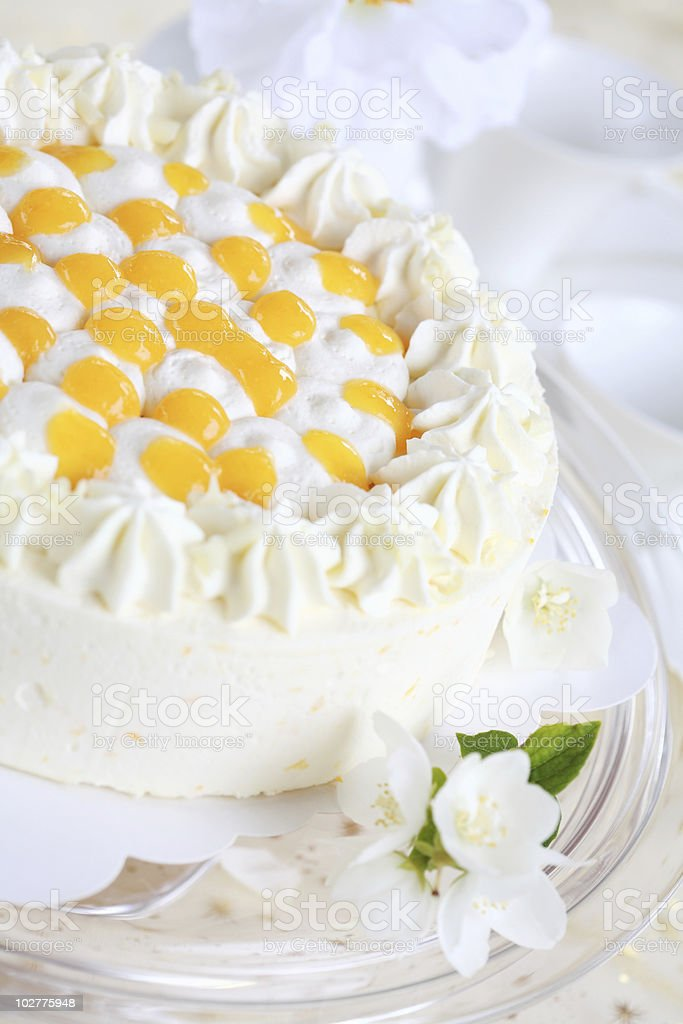 Yogurt cake with oranges stock photo