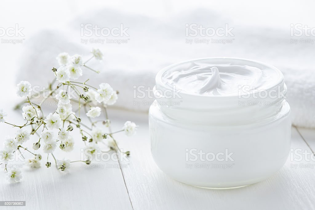 Yogurt cream beauty cosmetic product wellness and relaxation makeup stock photo