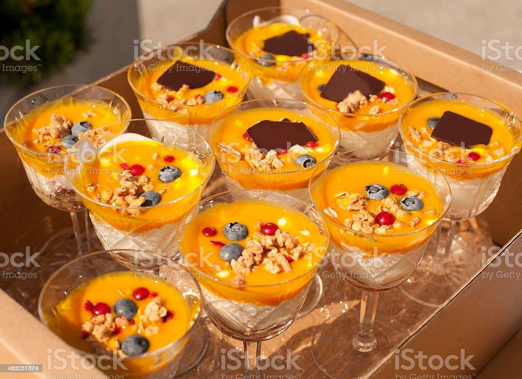 Yogurt, fruit and chocolate  Dessert Buffet stock photo