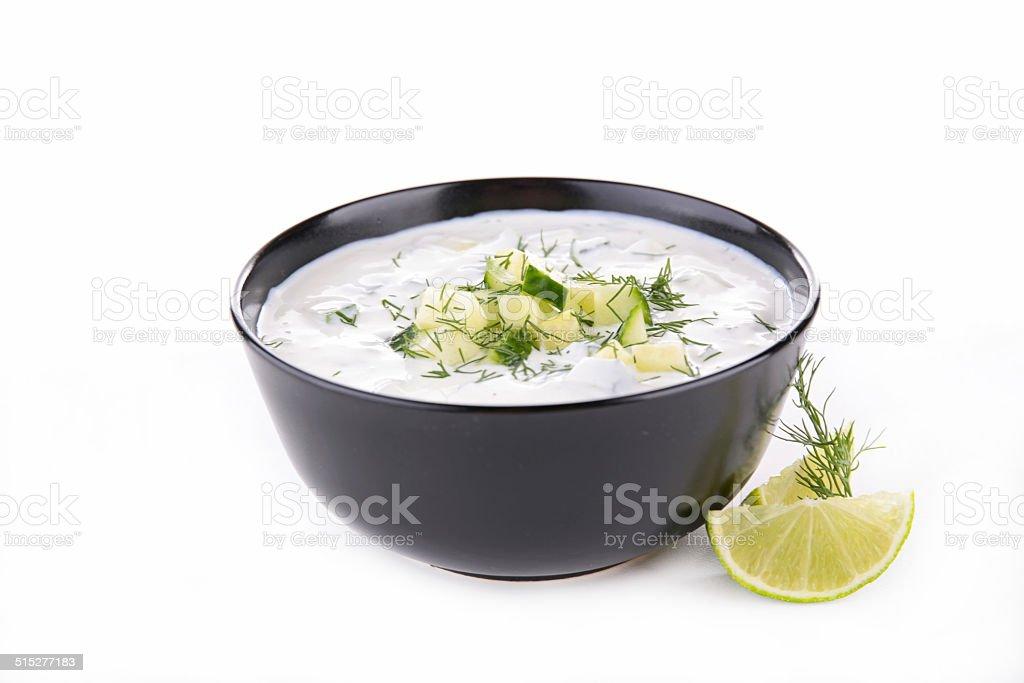 yogurt sauce with cucumber and dill stock photo