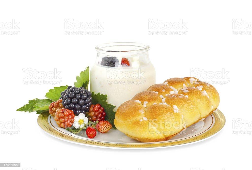Yogurt with blackberries and brioche royalty-free stock photo