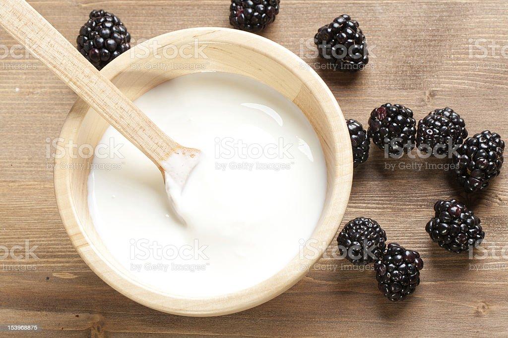 Yogurt with blackpberries royalty-free stock photo