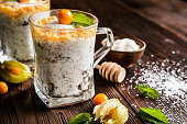 Yogurt with chia, coconut, honey and physalis puree