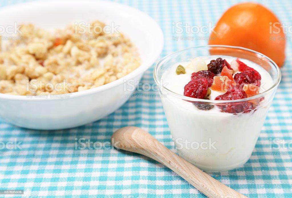 Yogurt with dry fruits stock photo