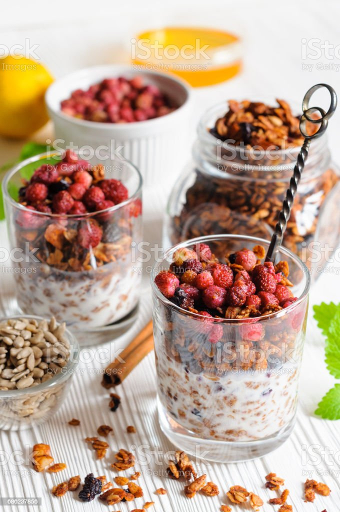 Yogurt with granola and berries in glasses stock photo