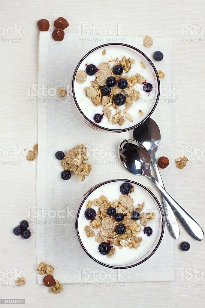 yogurt with muesli and berries royalty-free stock photo