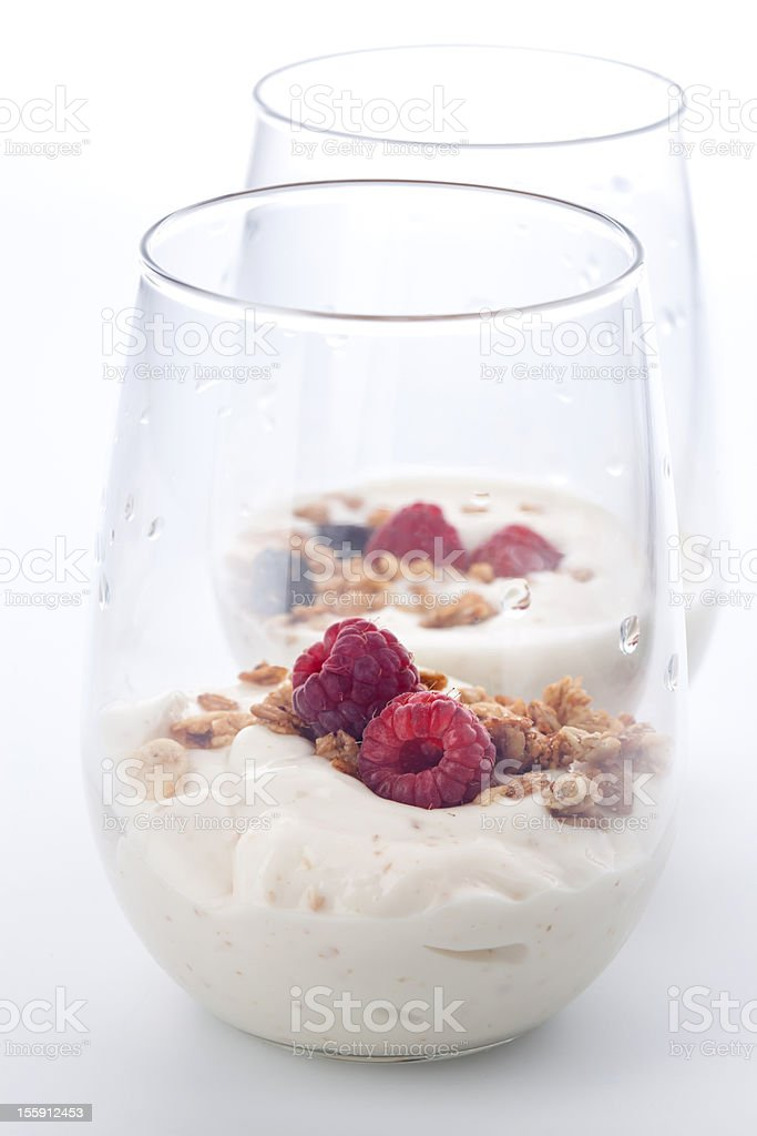 Yogurt with raspberries stock photo