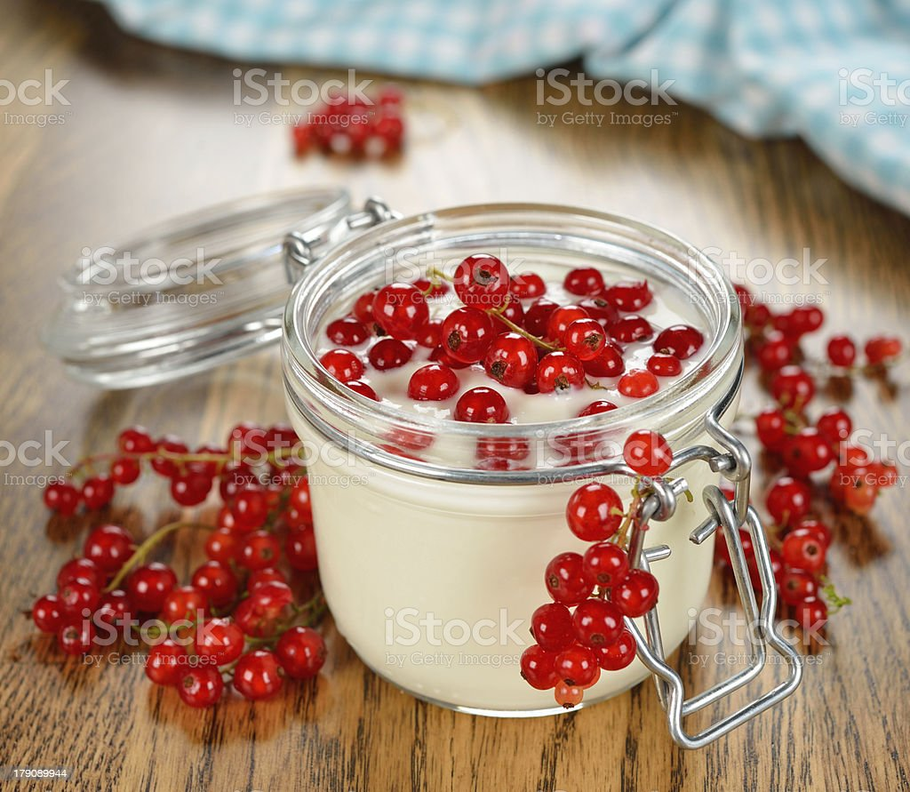 Yogurt with red currants royalty-free stock photo