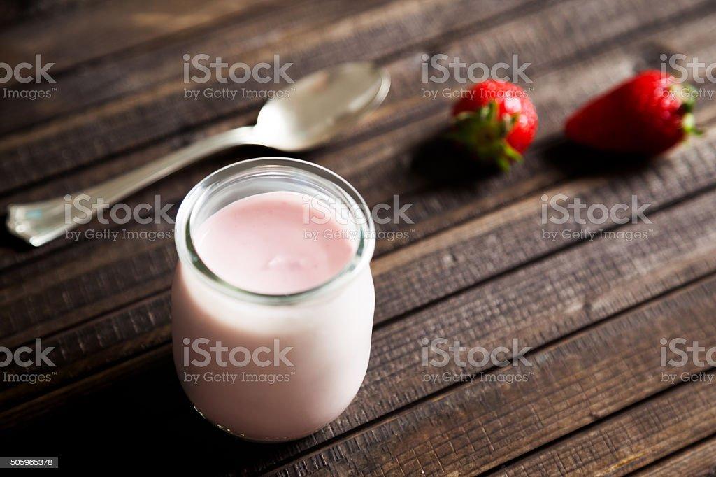 Yogurt with Strawberries stock photo