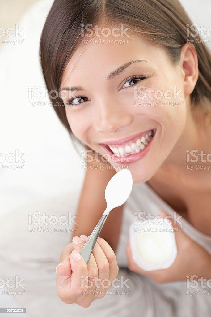 Yogurt woman eating royalty-free stock photo