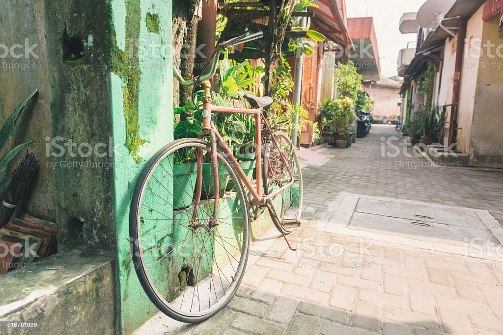 Yogyakarta Java Indonesia Bicycle Parked in Residential City Street stock photo