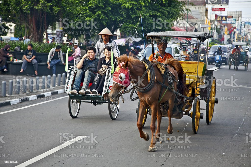 Yogyakarta with its typical hundreds of motorbikes on th stock photo