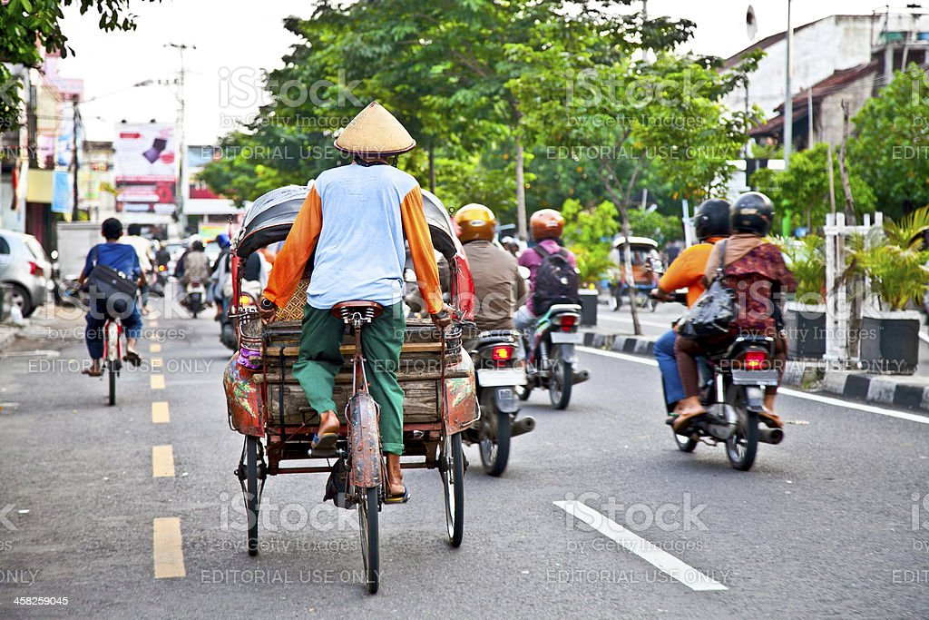 Yogyakarta with its typical hundreds of motorbikes on th royalty-free stock photo