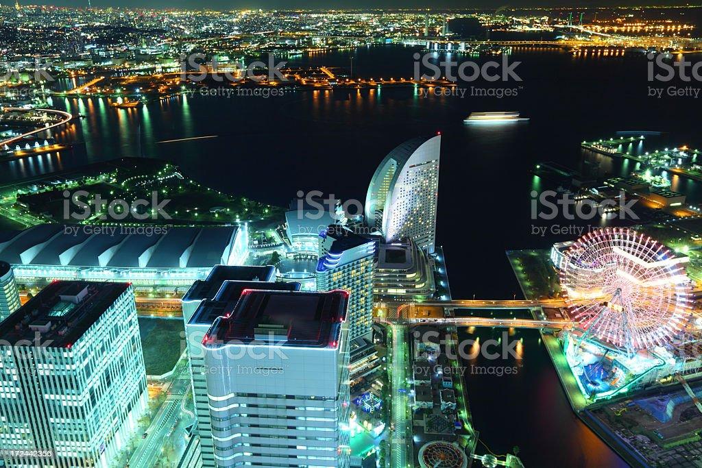 Yokohama at night royalty-free stock photo