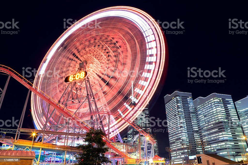 yokohama at night stock photo
