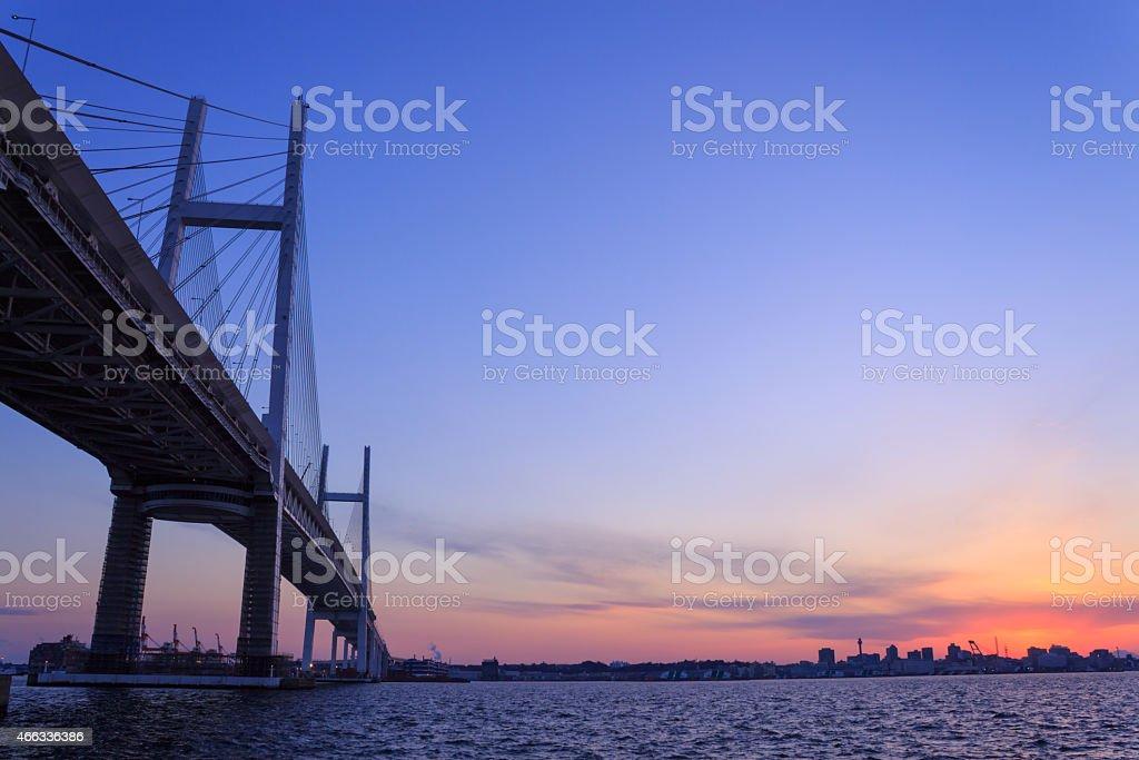 Yokohama Bay Bridge at dusk stock photo