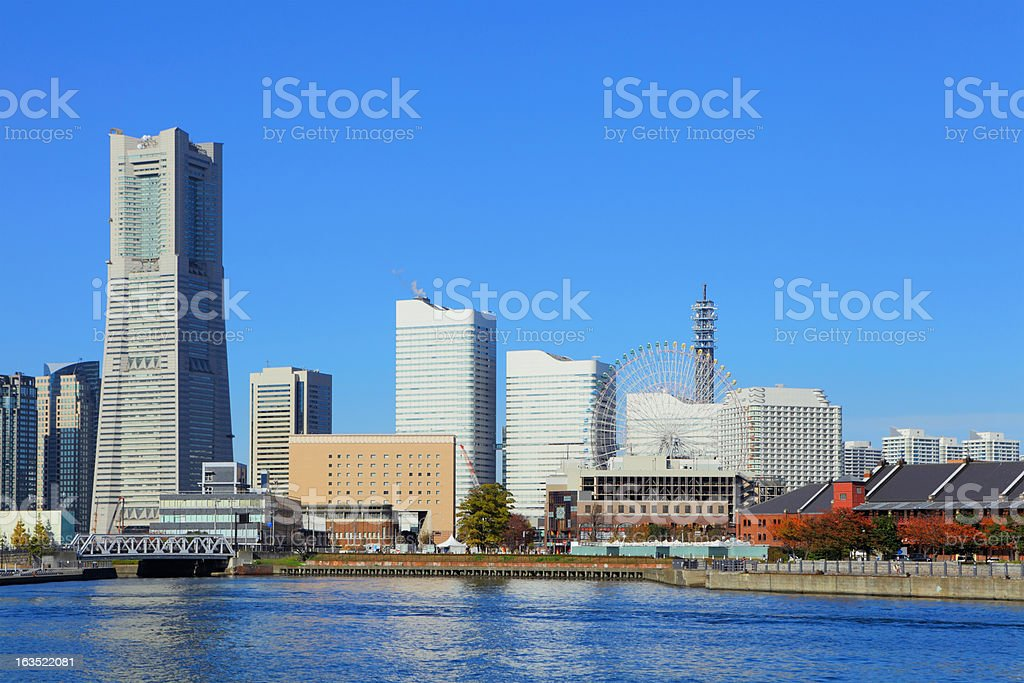 yokohama city view stock photo