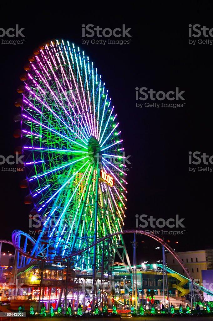 Yokohama Cosmoworld panoramic view over the bridge at night, Japan stock photo