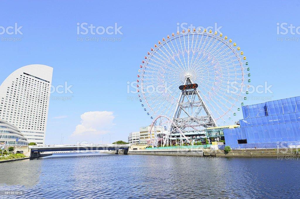 Yokohama Cosmoworld panoramic view over the bridge, Japan stock photo