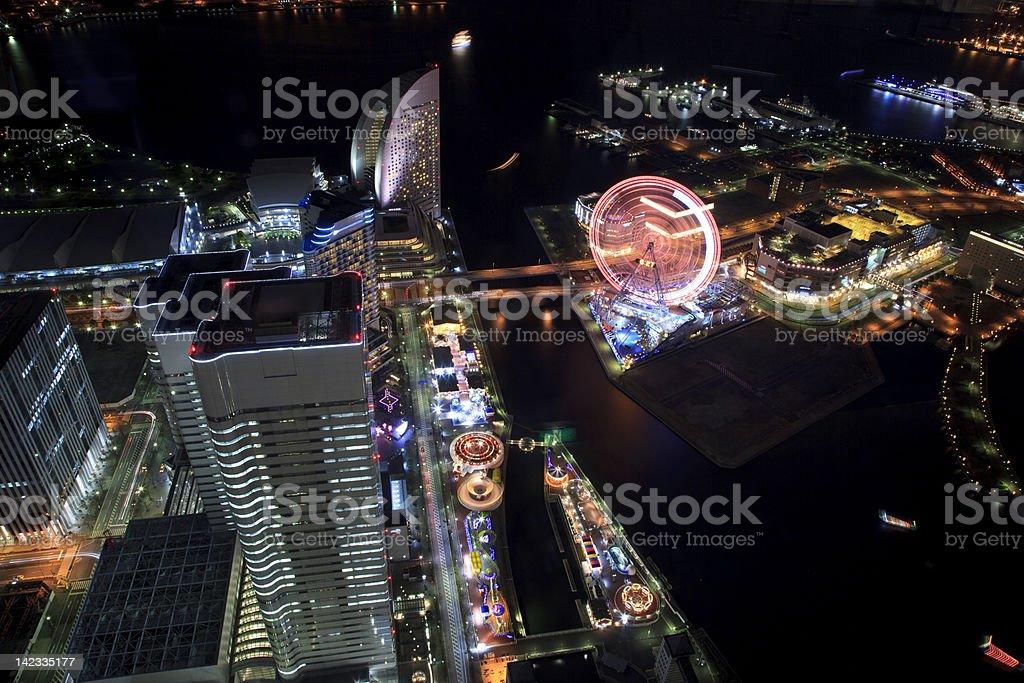 Yokohama, Japan Towers at night royalty-free stock photo