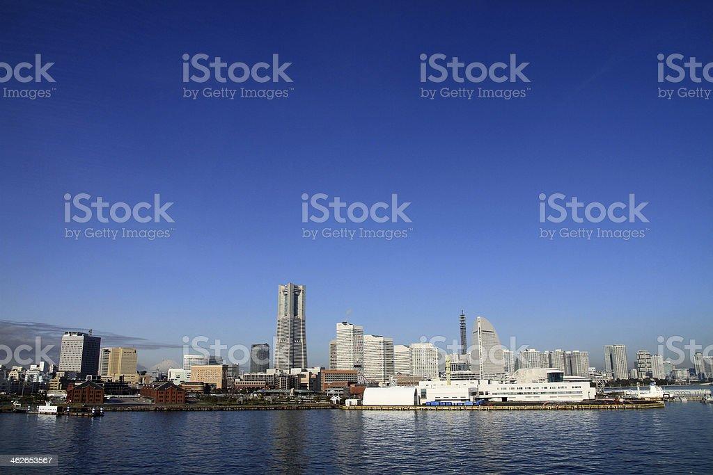 Yokohama Minato Mirai 21 and Mt. Fuji in Japan stock photo