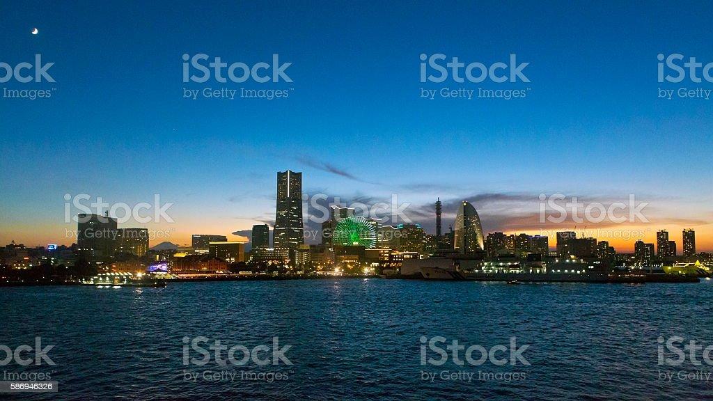 Yokohama Minato Mirai at Dusk stock photo
