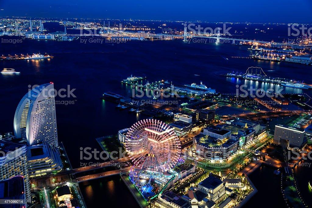 Yokohama Minato Mirai Night view stock photo