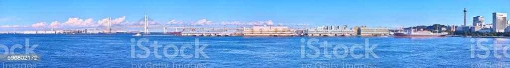 Yokohama Port and Bay Bridge stock photo