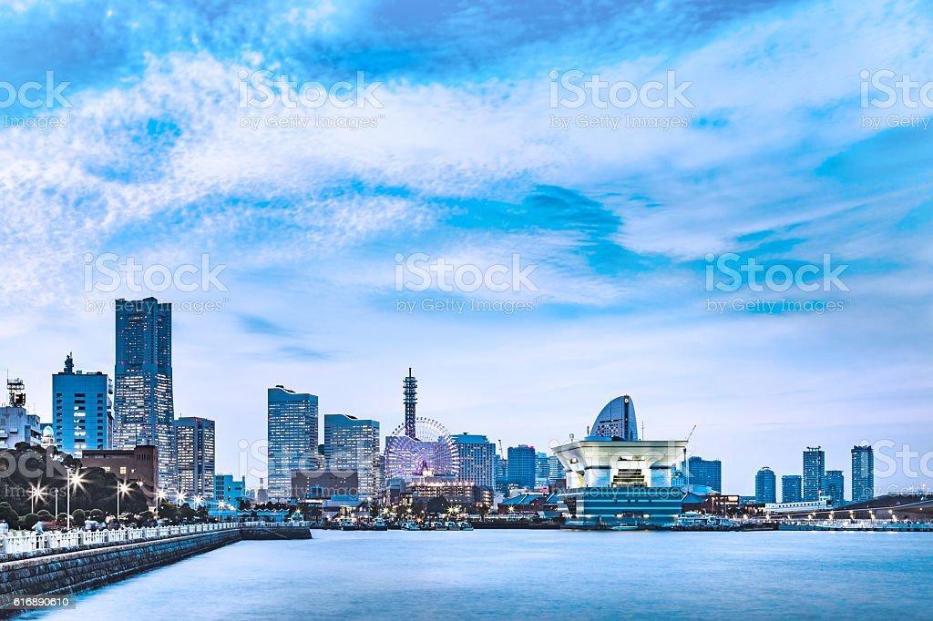 Yokohama Port of night view stock photo
