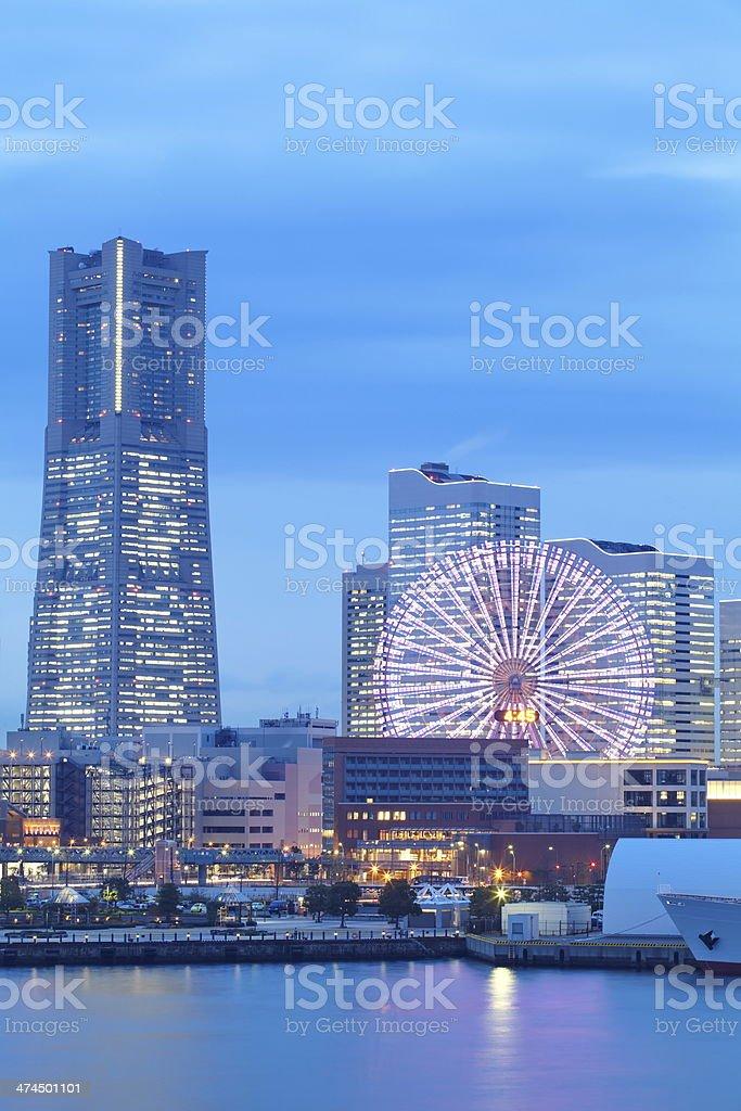 Yokohama skyline minato mirai area at night view stock photo