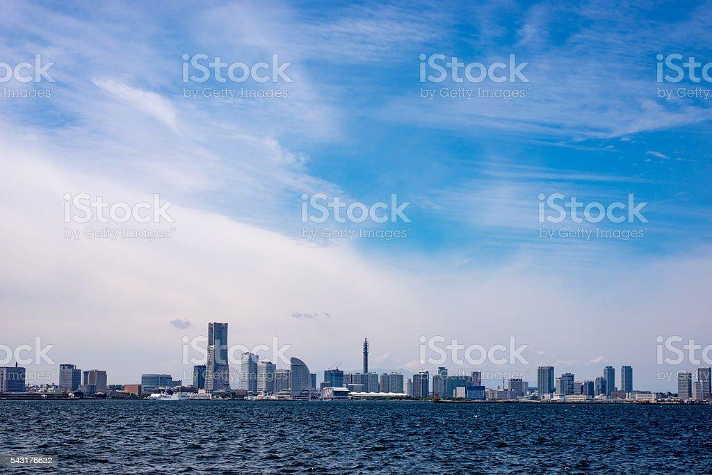 Yokohama Skyline View from Daikokuhuto peer stock photo