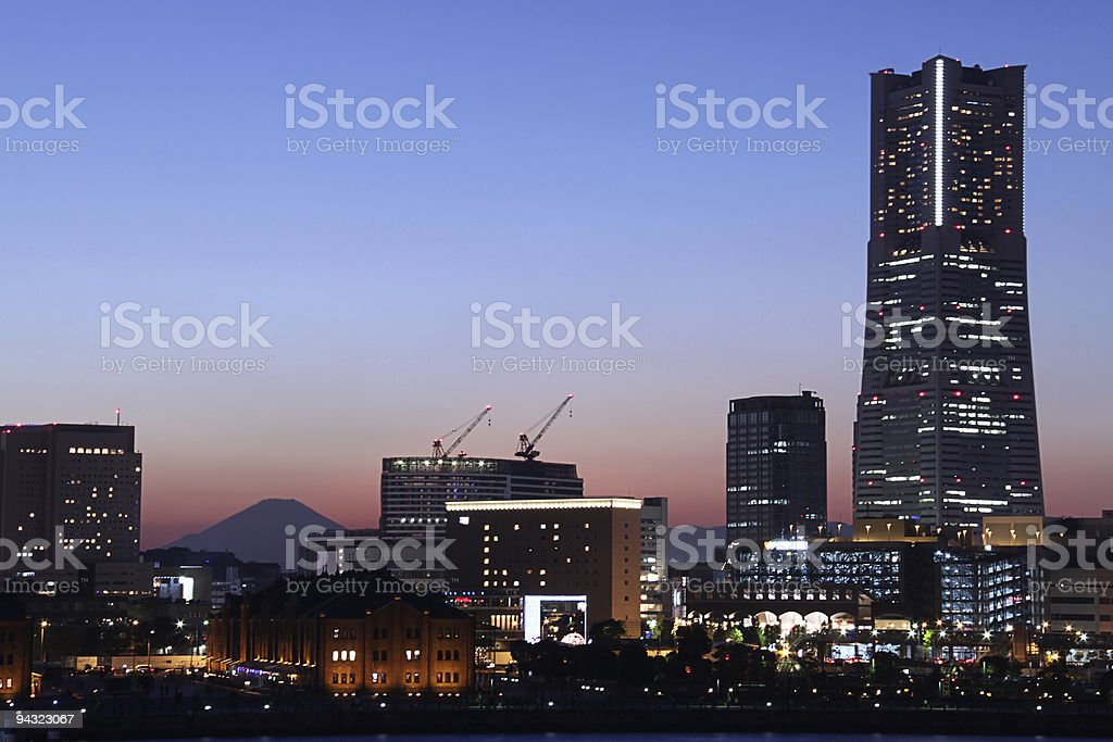 Yokohama sunset horizontal landmarks royalty-free stock photo