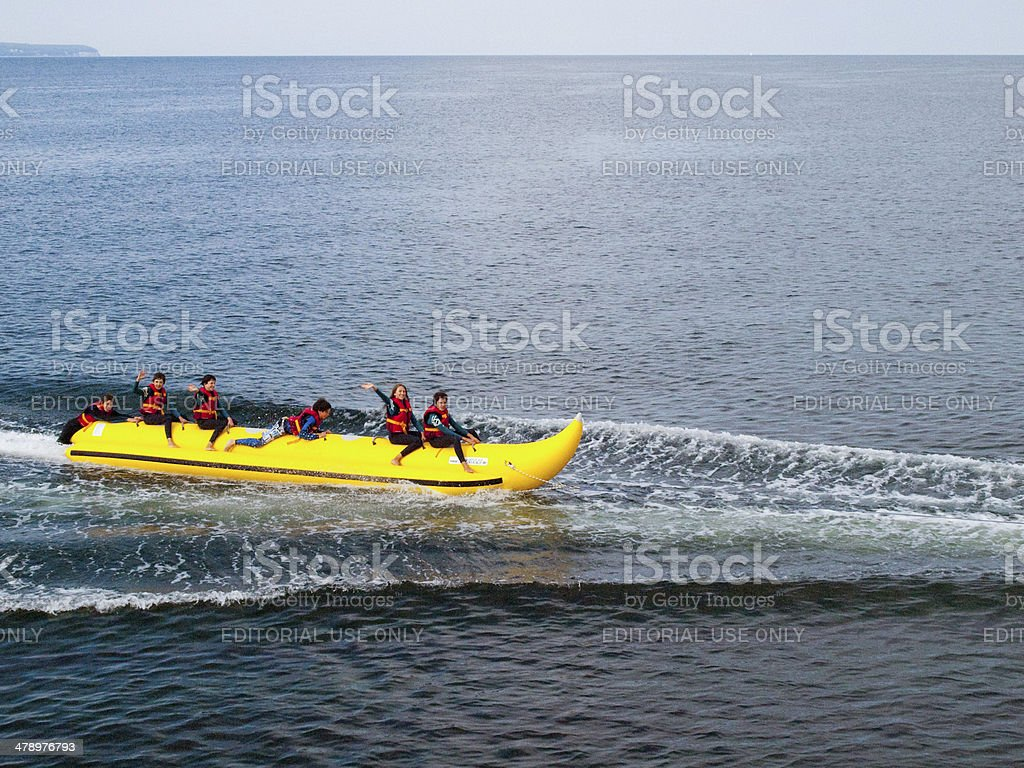 yollow boat stock photo