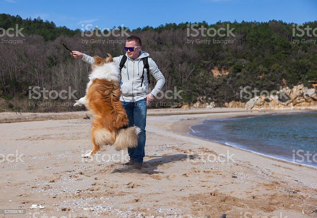 Yong man teaching rough collie dog to jump stock photo