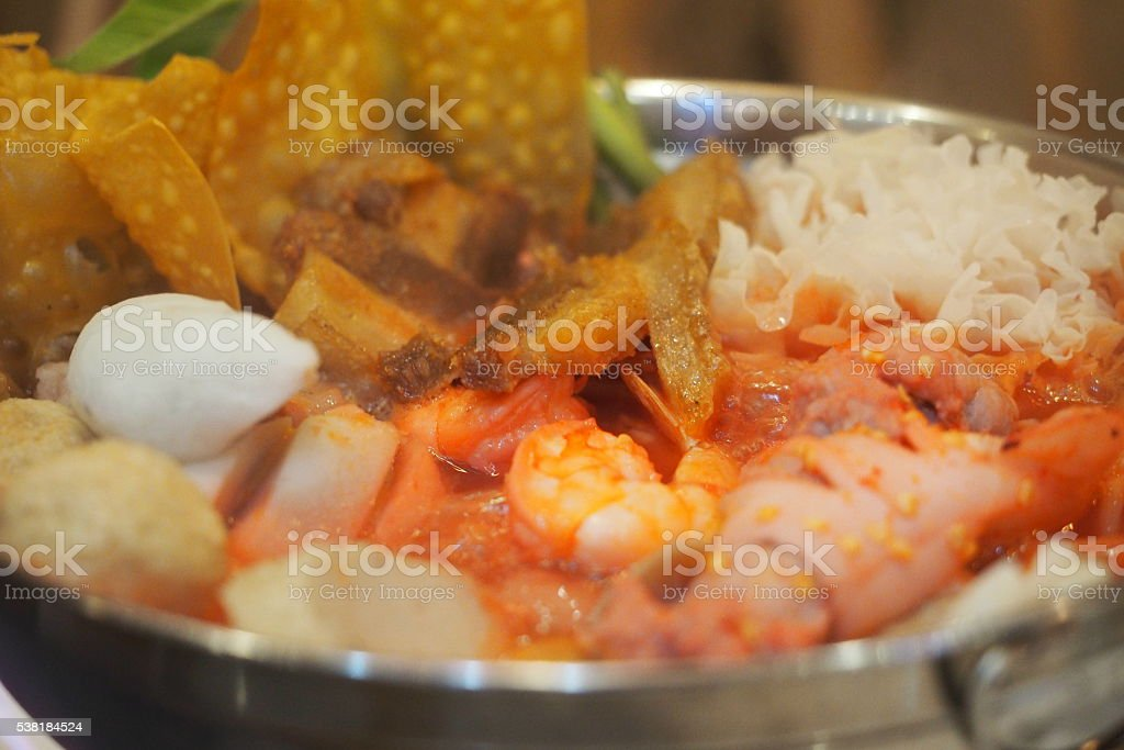 Yong Tua Foo hot pot with seafood stock photo
