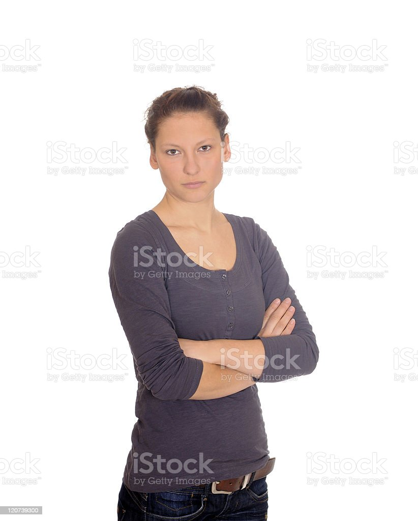 yong woman looking serious royalty-free stock photo
