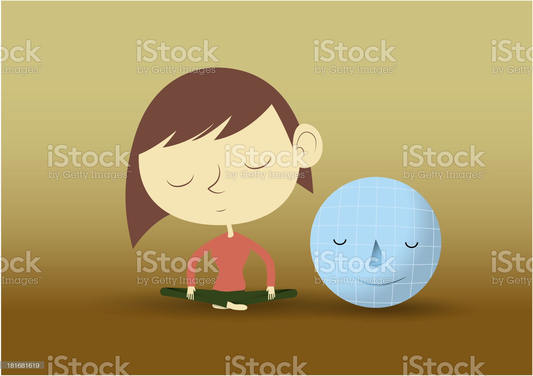 Yong women  in pose practicing yoga with small world royalty-free stock photo