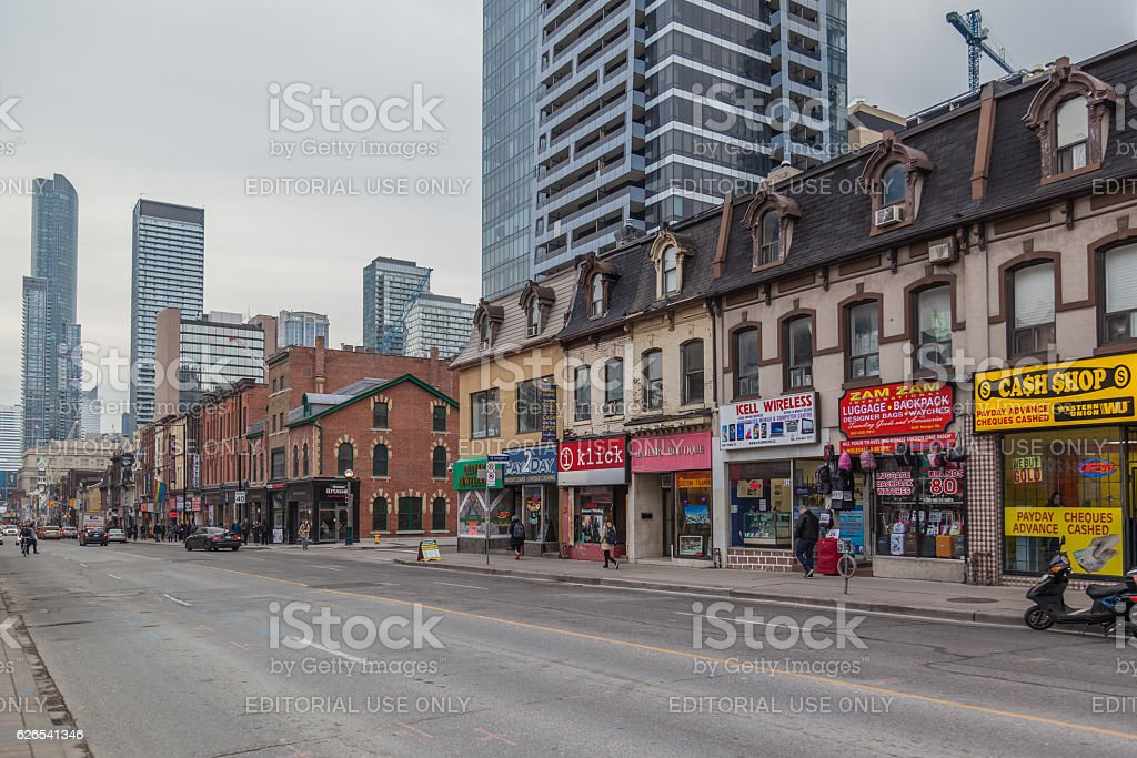 Yonge street in downtown Toronto stock photo