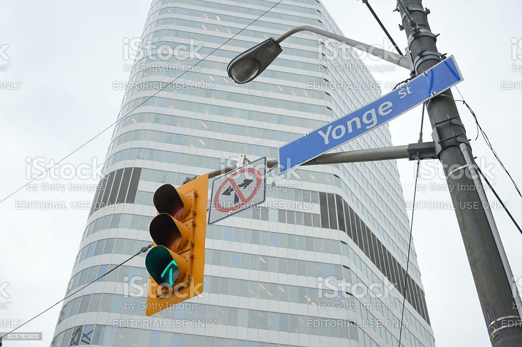 Yonge Street Sign and Traffic light Toronto downtown stock photo