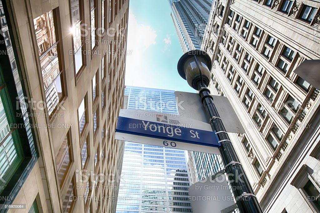 Yonge Street sign in the financial district of Toronto stock photo