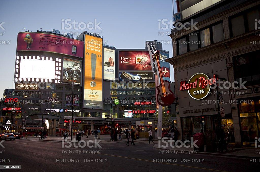Yonge-Dundas Square in Toronto at Dusk stock photo