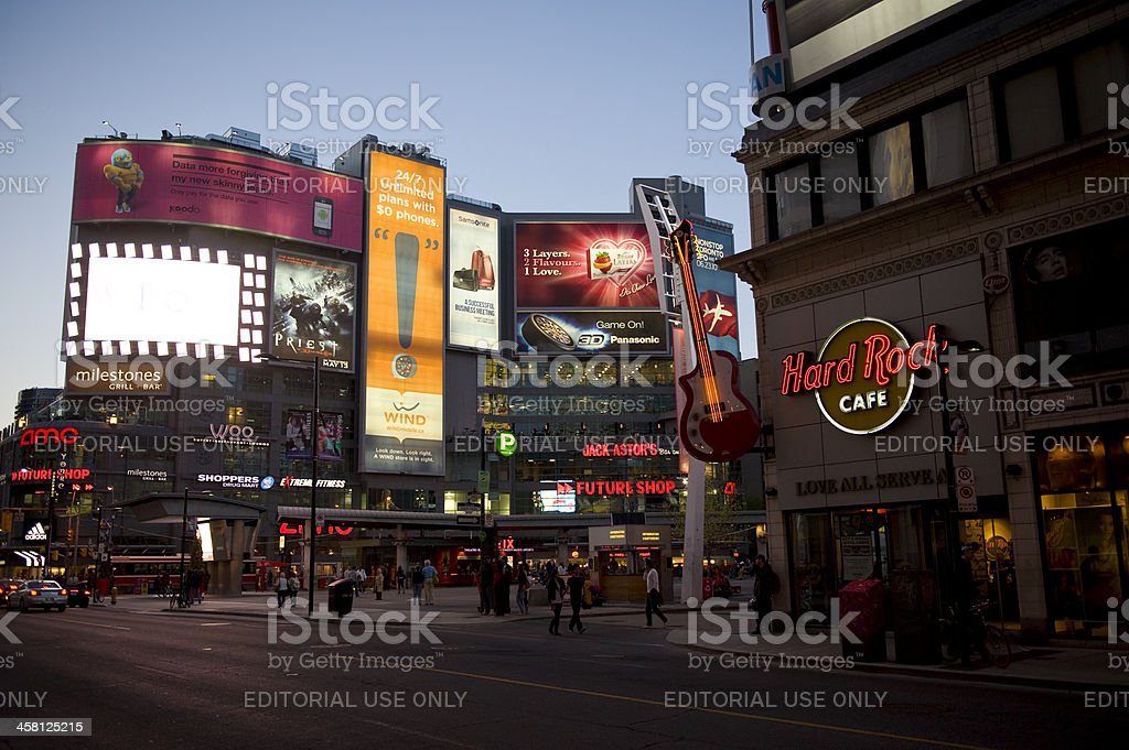 Yonge-Dundas Square in Toronto at Dusk stock photo