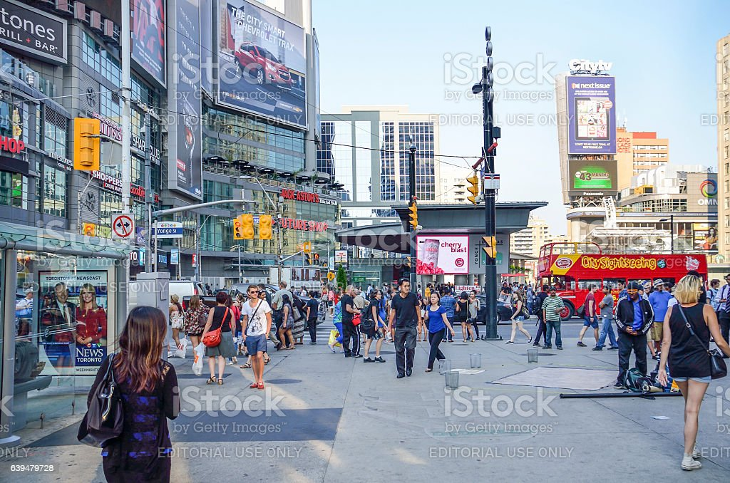 Yonge-Dundas Square, or Dundas Square, in downtown with many people stock photo